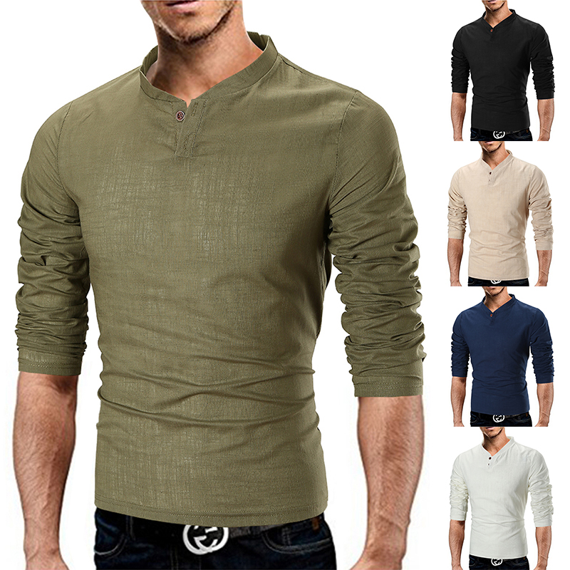 Autumn And Winter New Men's Solid Color Small V-Neck Fashion Pop Linen LongSleeved Shirt T-Shirt