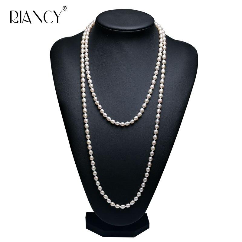 2018 модное длинное многослойное жемчужное ожерелье из натурального пресноводного жемчуга, Очаровательное ожерелье, ювелирные изделия для ж...