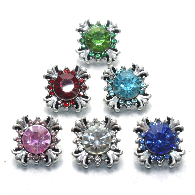 Boom Life wholesale 10pcs/lot High quality styles 12mm Metal Snap buttons Square buttons Rhinestone watches Snaps Jewelry 011604