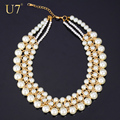 U7 Statement Necklace Choker Necklace Women Simulated Pearl Jewelry Wholesale Gold Plated Link Chain Necklaces N344