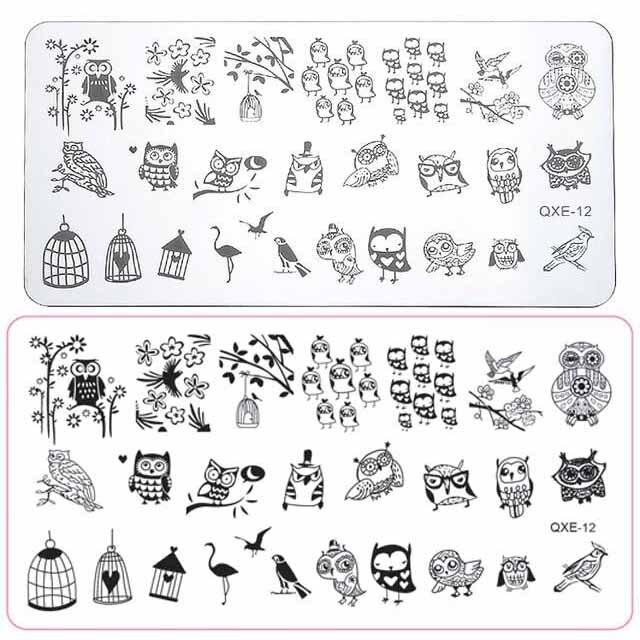Plantilla de estampado para uñas de tamaño grande, diseño de búho para manicura DIY, sello de amor, plantilla de placa de imagen #12