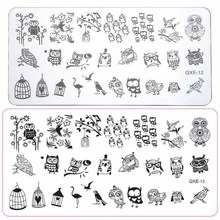 Stencil Image-Plate Love-Stamp-Template Nail-Art Stamping Manicure Larger-Size Owl-Design