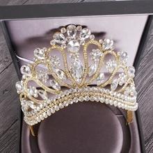 新しいシルバーゴールドカラー結婚式の女王クラウン高級クリスタルビッグティアラクラウン櫛で花嫁のウェディングブライダルヘッドドレス HG 213