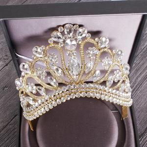 Image 1 - 新しいシルバーゴールドカラー結婚式の女王クラウン高級クリスタルビッグティアラクラウン櫛で花嫁のウェディングブライダルヘッドドレス HG 213