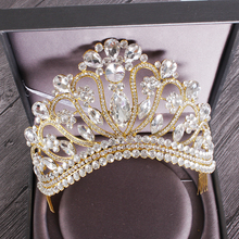 Nova prata ouro cor da rainha do casamento coroa de cristal luxo grande tiara coroas com pente noiva casamento nupcial cocar HG 213