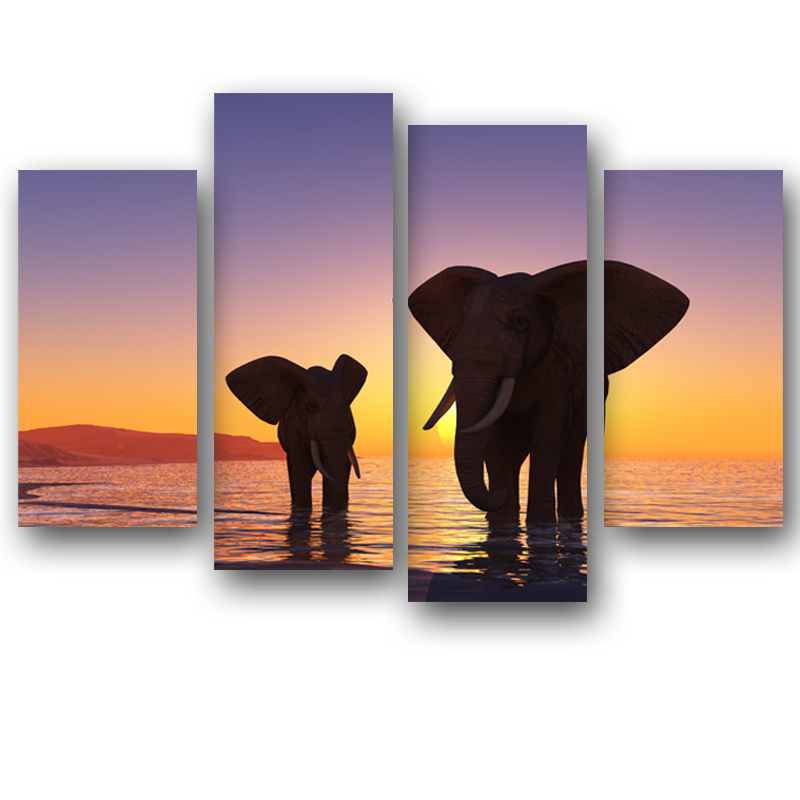 (Unframed)4 Panels Modern Painting Sunset Two Elephant Landscape Painting Printed On Canvas wall Art For Living Room Decoracion  wall art xl | XL MODERN CANVAS WALL ART Painting-MOSAICA Limited Edition Hand Embellished Giclee on canvas  Unframed 4 Panels Modern Painting Sunset Two Elephant Landscape Painting Printed On Canvas font b