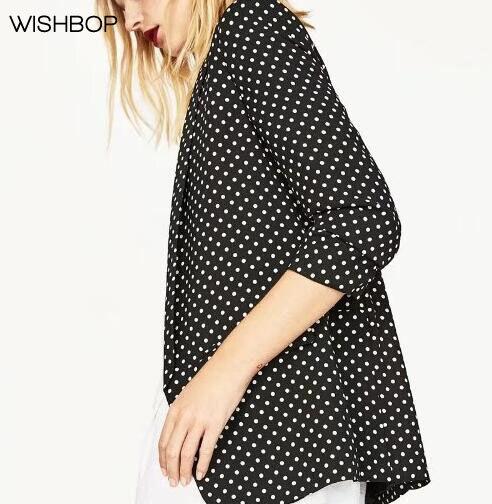 WISHBOP Autumn 2017 New Woman Fashion Polka dot blazer lapel collar 3/4 Roll-up sleeves Front flap pockets