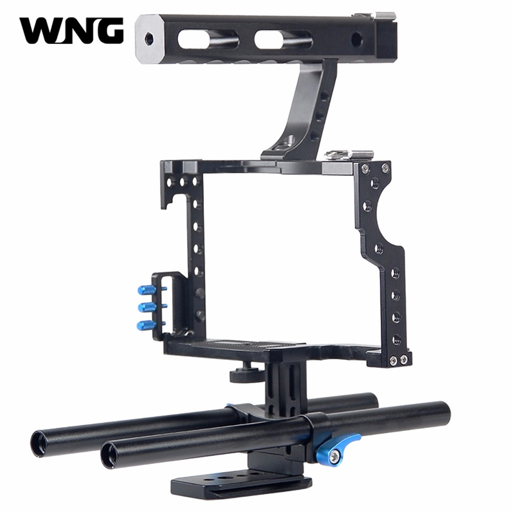 Professional Handle Grip DSLR Rig Video Camera Cage Stabilizer For Sony Alpha A7S A7 A7R A7RII A7SII for Panasonic Lumix GH4 aluminum alloy camera video cage stabilizer shooting accessory with handle for panasonic gh4 a7s a7 a7r a7rii a7sii