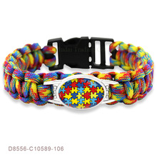 Puzzle Piece Autism Awareness Hope Colorful 25 18mm Glass Cabochon Outdoor Survival Paracord Charm font b