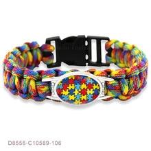 Puzzle Piece Autism Awareness Hope Colorful 25*18mm Glass Cabochon Outdoor Survival Paracord Charm Bracelets Men Women Jewelry