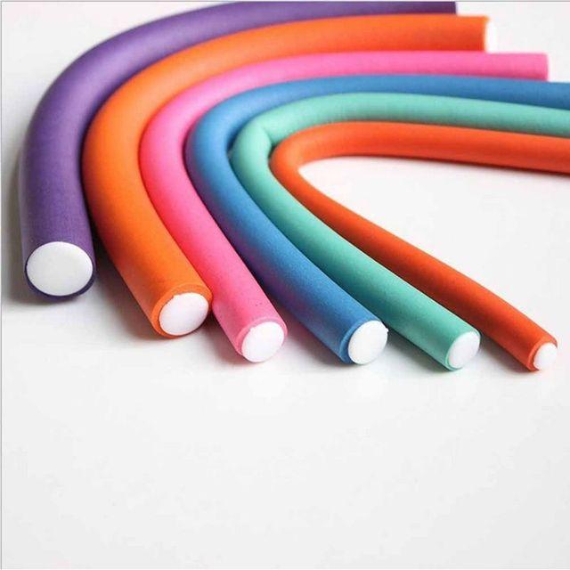 10 pcs Styling Rolos de Cabelo Macio Da Esponja de Espuma DIY Flexível Bendy Curler Curls Ferramenta Cor Aleatória