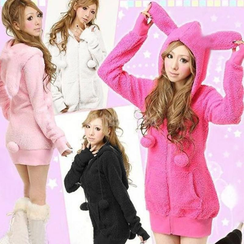 Free Size Women Cute Spring Comfortable Plush Rabbit Ear Hoodies