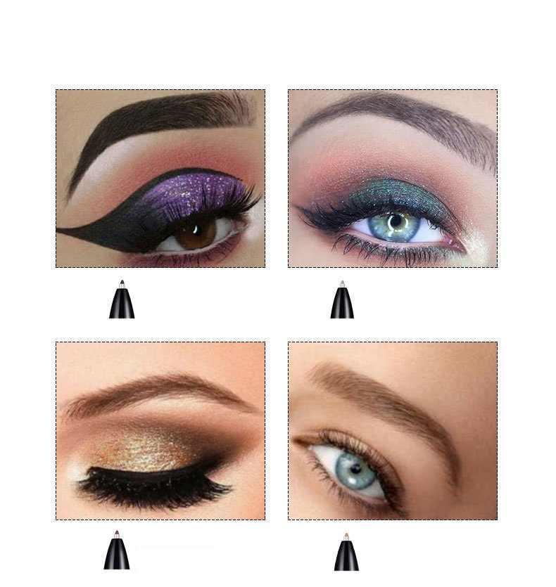 4 w 1 długopis do brwi automatyczny trwały Eyeliner kredka do ust wodoodporna kredka do brwi do makijażu przyrząd kosmetyczny w kolorze czarnym