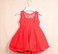 Heißer verkauf ~ Koreanische mädchen prinzessin spitzenkleid weiß rosa orange schwarz rot 5 teile/los gute qualität