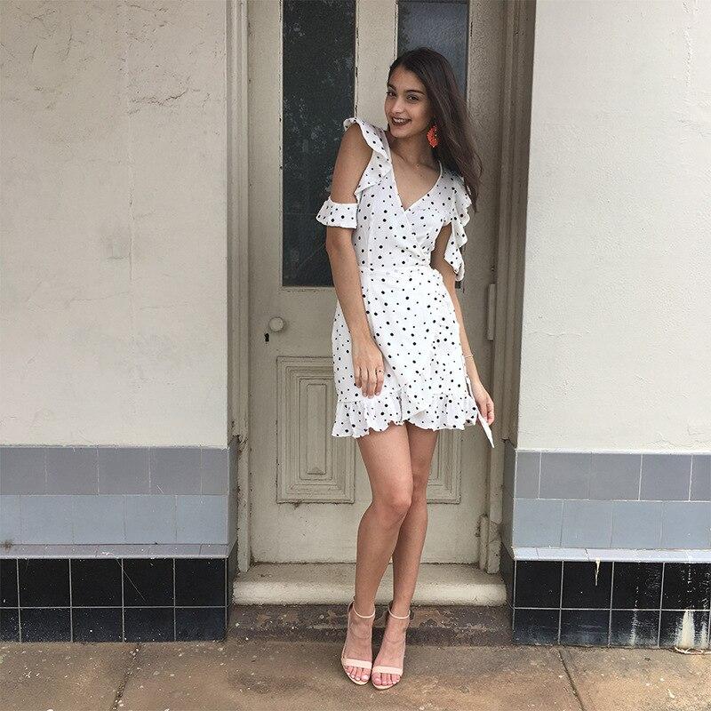 520194b518c1c Frill Short Ruffles Dress Vestido Volantes Corto Casual Dress Summer Polka  Dot Dresses White Deep V Neck Sexy Spring Dress Girl