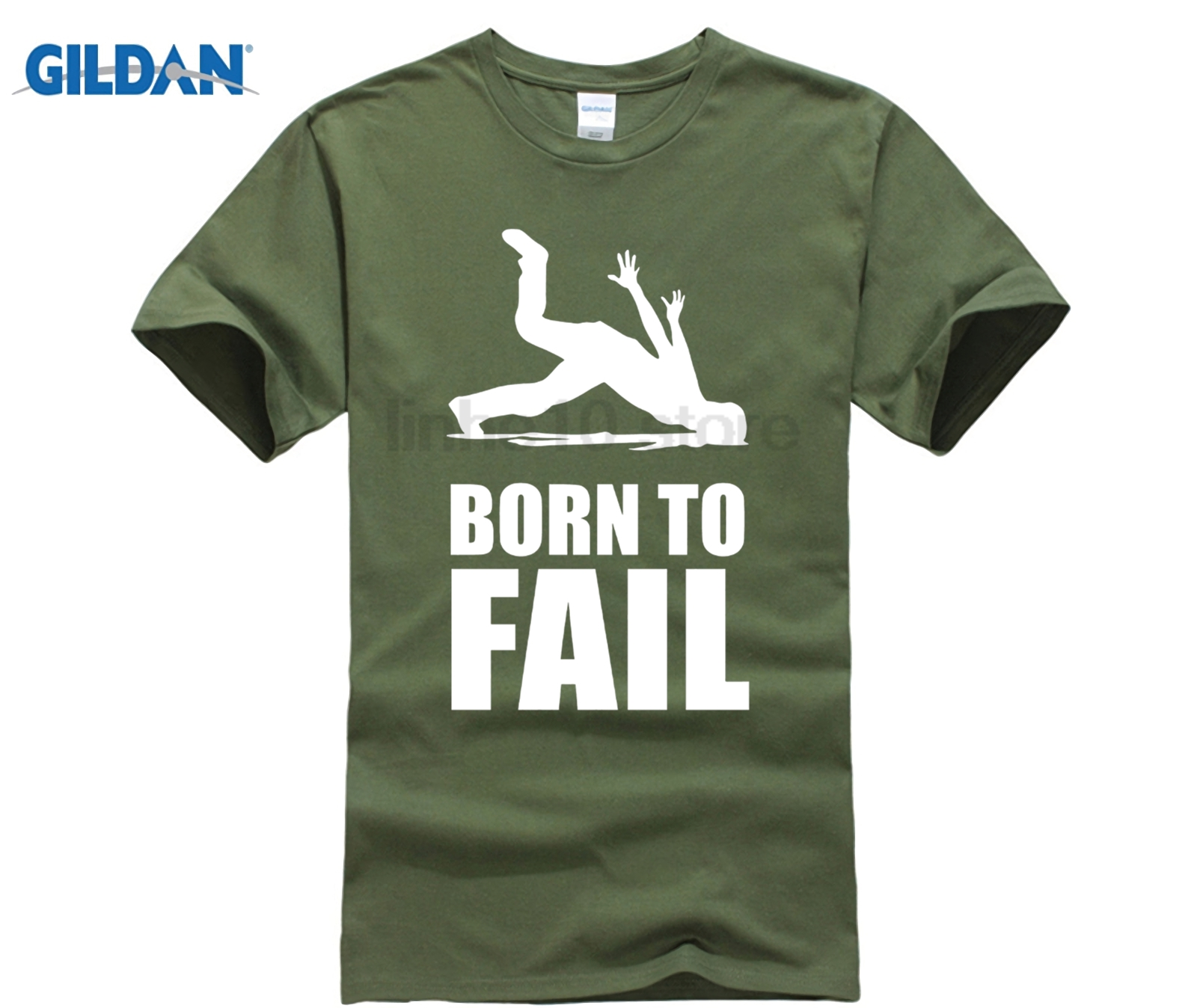 GILDAN 2018 Hot Sale 100% cotton Design T-Shirt Born to Fail Failer Misfortune Fun Funny ...
