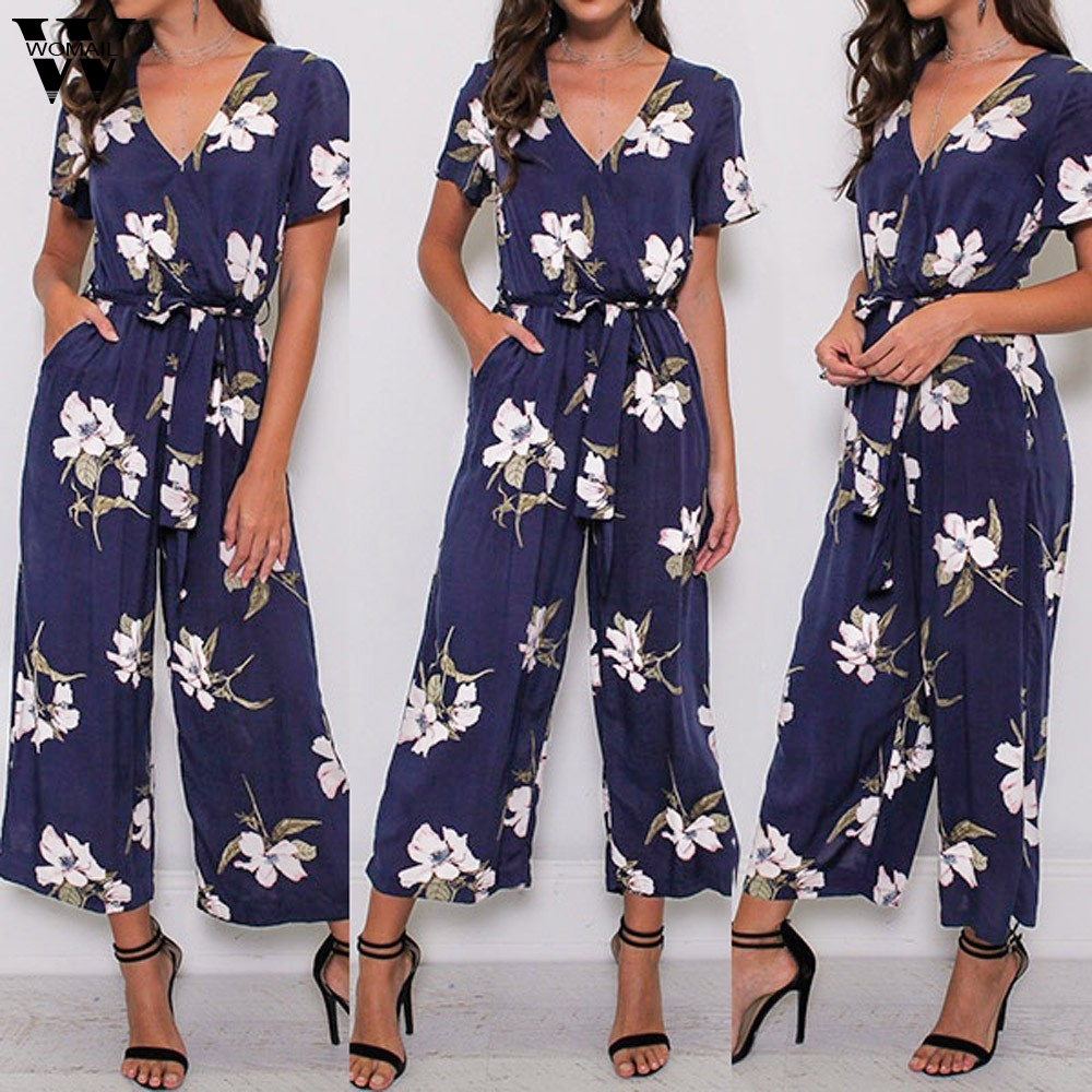 Womail Bodysuit Women Summer Casual V Neck Loose Playsuit Party Romper Short Sleeve Print Jumpsuit Fashion New 2019 Dropship M1