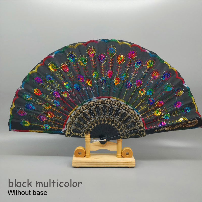 Art Folding Tail Feather Plastic Bone Sequins Carved Hand Fan Summer Accessory Crafts Print Home Decor Embroidery