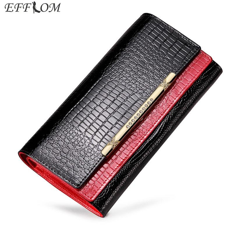 купить Crocodile Pattern Patent Leather Women Wallets Female Genuine Leather Coin Purses Card Holders Long Rhinestones Phone Wallet недорого