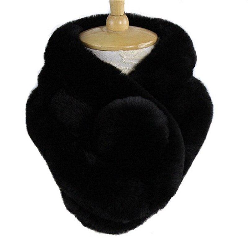 купить женский натуральный кроличий мех зимний теплый шарф вязаный