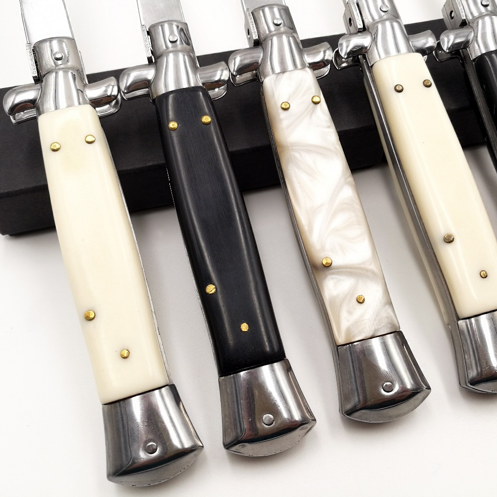 Tools : Italian 11inch Mafia Tactical Folding knife 440C Blade Acrylic Handle Godfather Pocket Knives Survival Quickly Open Knife EDC Tools