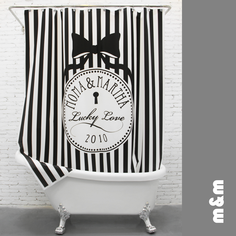 Black & white stripes Productos Creativos de Poliéster Impermeable Baño Cortina