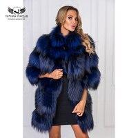 Tatyna Furclub 2018 Новый Теплая куртка с меховой воротник Настоящее Silver Fox Шубы Для женщин Роскошные зимние натуральный Лисий Меховая куртка