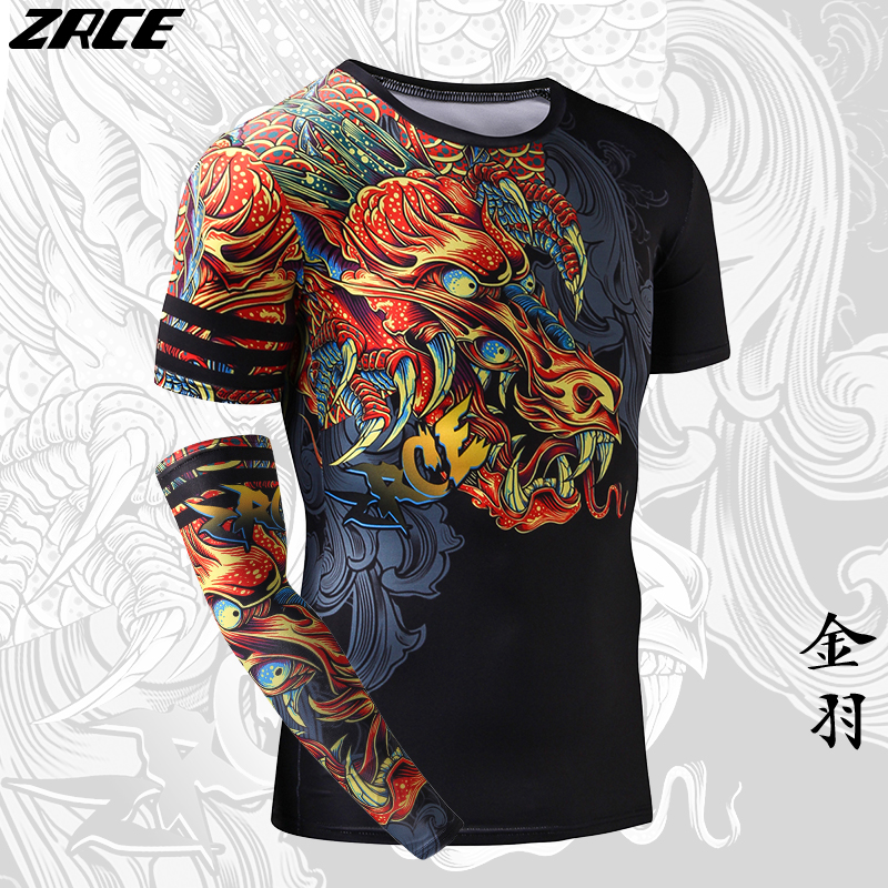 Chinese Funny Dragon 3D Arm Sleeve Homme Workout Tshirts