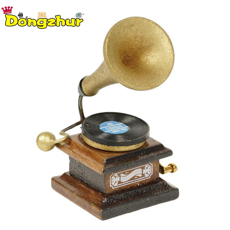 Dongzhur New Ultra-compact Retro Phonograph Record Dollhouse Miniature 1:12 Furniture Mini Accessories DIY Doll House WWP1123