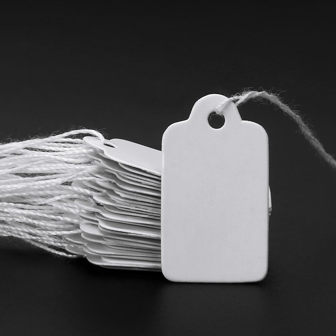 500 шт. пустые белые бумажные карты для этикеток, прямоугольные пустые этикетки для цены на ювелирные часы, ярлыки для указания цены со шнурко...