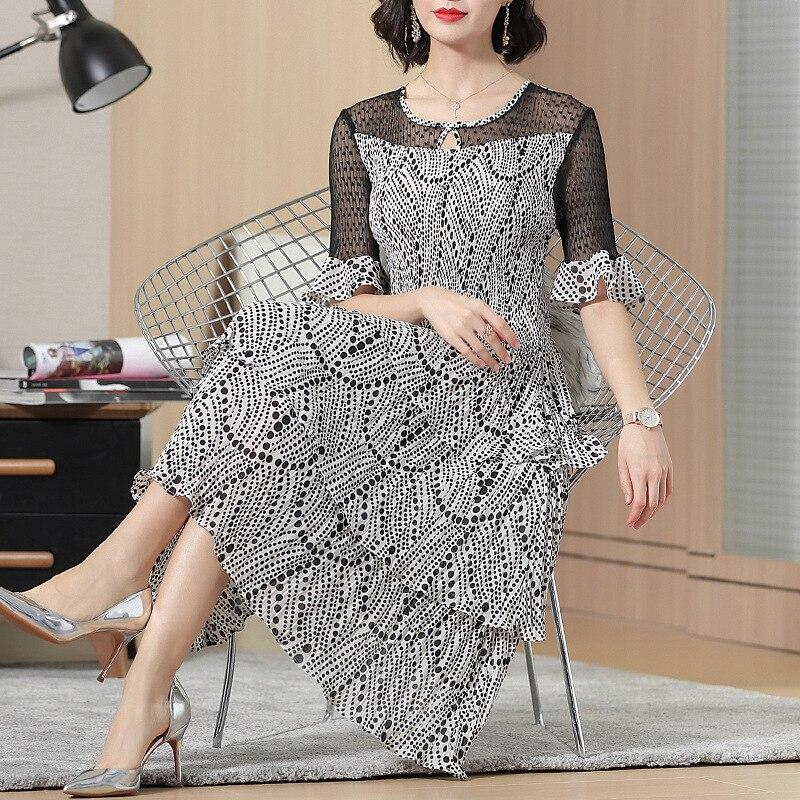 Printed Short Sleeve Summer Dress 2019 New Female Lace Lady Elegant Pleated Dresses