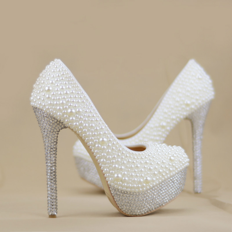 White dress wedding shoes Pearl crystal High heels adult Fashion sexy