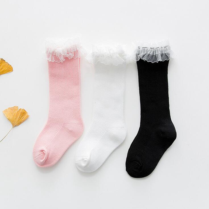 1 Pair Newborn Baby Cartoon Cute Child Cotton Solid Color Fresh Candy Color Large Lace Lace Baby Kid Knee High Sock Girl Gift