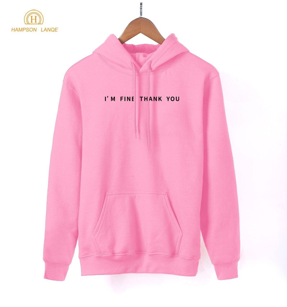 Social Hoodies Adult I'm Fine Thank You Letters Print Women Sweatshirts 2019 Spring Sweatshirt Black White Gray Pink Red Blue