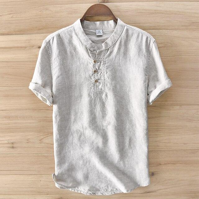 Large Size Chest 120cm 100 Linen Shirt Men Brand Clothing