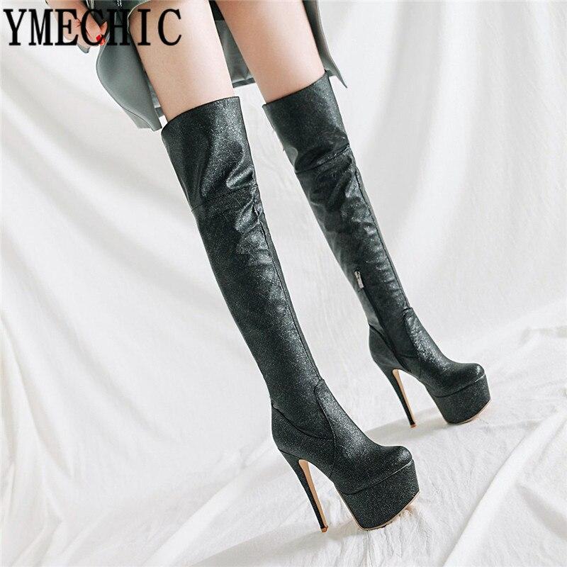 Ymechic Bling Platform Sexy Super High Heels Long Over Knee Thigh High Boots Gold -1596