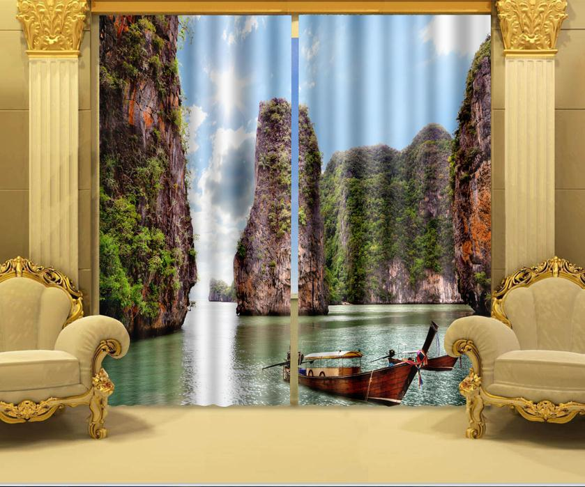 Photo Print Stereoscopic 3d Curtains Only Beautiful Sea