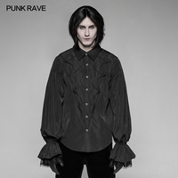 PUNK RAVE Men's Gothic Vintage Black Bat Lantern Sleeve Shirt Gorgeous Fashion Men's Long Sleeve Tops Shirt Stage Performance