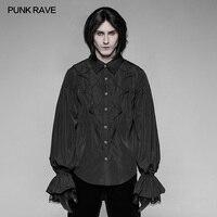 PUNK RAVE Men's Gothic Vintage Black Bat Lantern Sleeve Shirt Gorgeous Fashion Men's Long Sleeve Tops Shirt Stage Performance