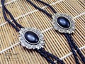 Bolo Tie  Retro shirt chain Imitation of obsidian B poirot led rope leather necklace Long tie hang