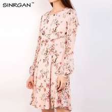 SINRGAN Womens Elegant Vintage Spring Summer Print Dress Casual Long Sleeve Party A Line Dress Female Knee-Length Vestidos(China)
