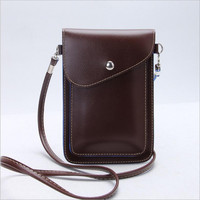 PU Leather Phone Bag Shoulder Pocket Wallet Pouch Case Neck Strap For Samsung S4 S5 For