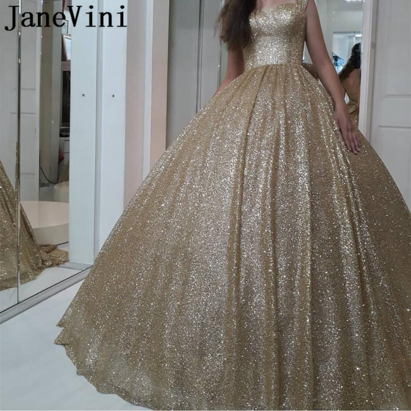 JaneVini Sparkle Gold Ball Gown Plus Size   Prom     Dresses   Sweetheart Sequined Big Bow Back Sweep Train Dubai Luxury Evening Gowns