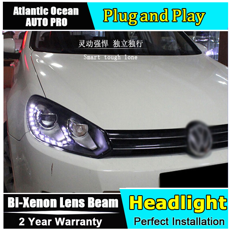 car Styling LED Head Lamp for VW Golf 6 led headlights 2009-2012 GIT R20 Angel eye led drl HID KIT Bi-Xenon Lens low beam free shipping for vland car styling head lamp for vw golf 7 headlights led drl led signal h7 d2h xenon beam