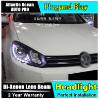 car Styling LED Head Lamp for VW Golf 6 led headlights 2009 2012 GIT R20 Angel eye led drl HID KIT Bi Xenon Lens low beam