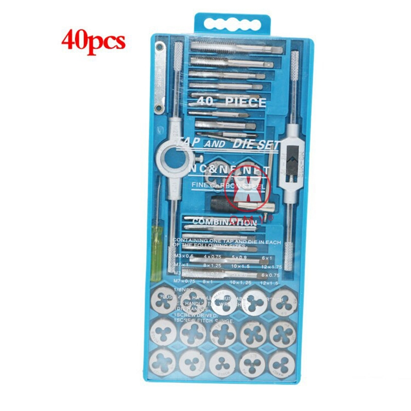 OMY 40pcs High Speed Steel Tap dies Set Metric Taps Dies DIY kit screw tap Holder Thread Gauge Wrench Threading hand Tools+Case 40pcs tap