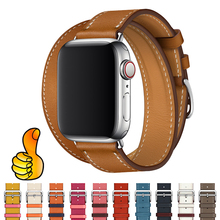 watchband Strap for apple watch band Genuine Leather 44 mm 40mm iwatch band 42mm 38mm Single tour bracelet for apple watch 4 3 все цены