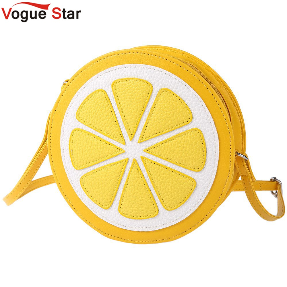 2017 New Arrival Shoulder Dual Purpose Mini Bags Ladies Round Lemon Pattern Zipper Crossbody Women Messenger