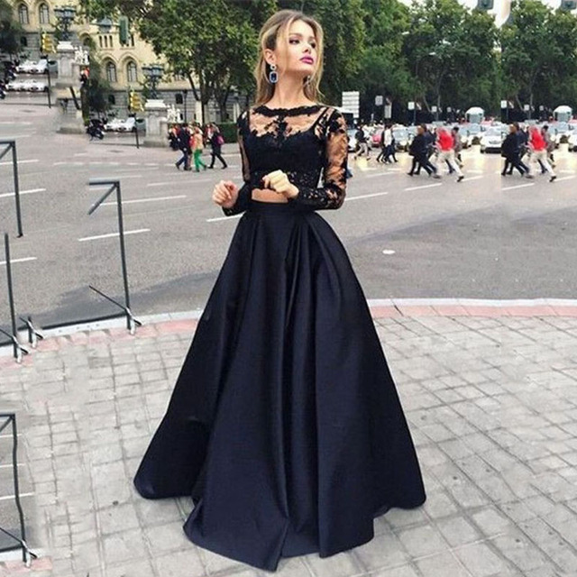 2887a6e33c3da موضة 2 أجزاء الأسود الرباط فساتين السهرة 2017 منفعل طويلة فستان الحفلة  الراقصة للتخرج 2 قطعة