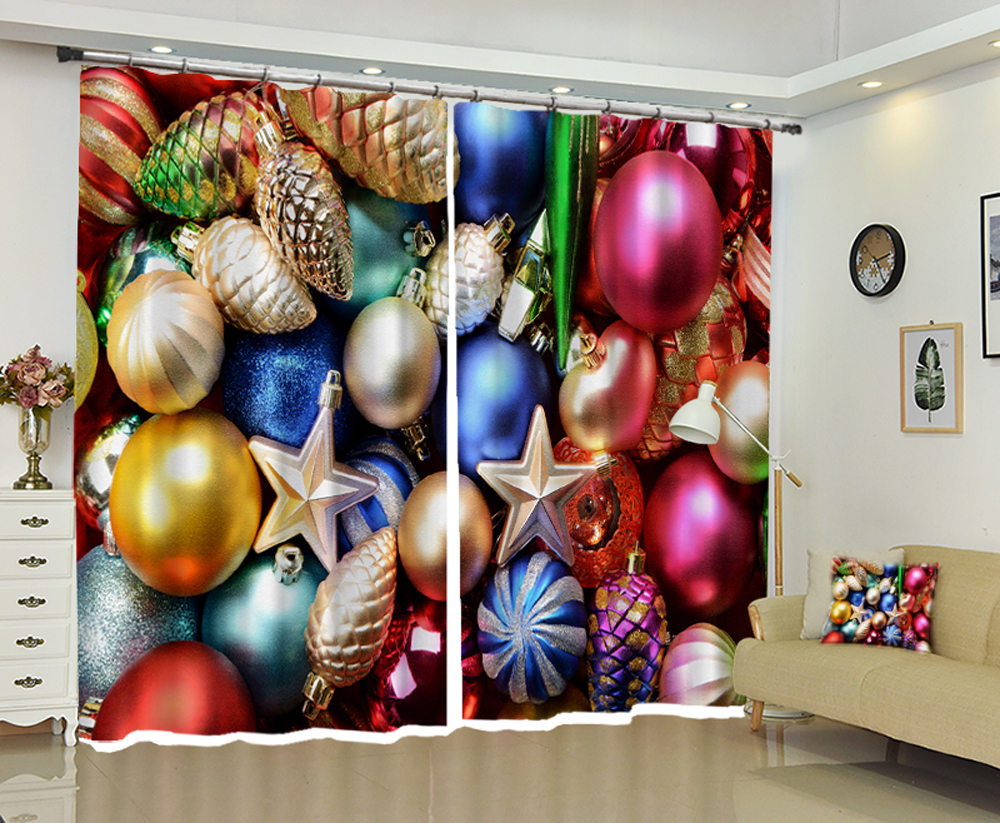 Christmas cartoon new curtains Christmas balls pine cones blackout curtains, gauze
